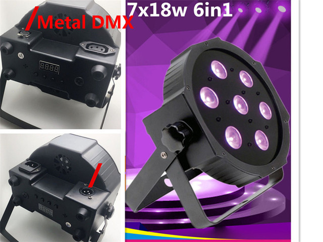 CREE RGBW 7x18W LED Flat SlimPar RGBWA UV Light 6in1 LED DJ Wash Light Stage dmx light lamp 6/10 channes