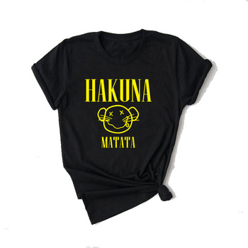 Vogue Lady Black tops Hakuna Matata t shirt women couple clothes Lion King Graphic Tees O-Neck Polyester T-shirt 90s Harajuku