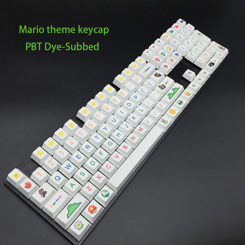 Mario Theme Keycap Series PBT Material And Sublimation Process Mechanical Keyboard Keycaps OEM Height For Computer Gaming Keycap plum 21 key numpad electrostatic capacitive mechanical keyboard 45g keypad pbt keycap numeric pad wired programmable number pad