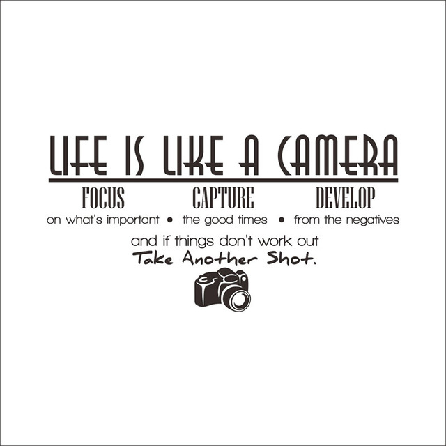Living Quotes Gorgeous Life Is Like A Camera Quotes Wall Stickers Living  Room Decoration