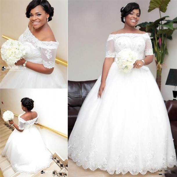 Plus Size Wedding Dress Half Sleeves Off Shoulder Ball Gown Wedding ...