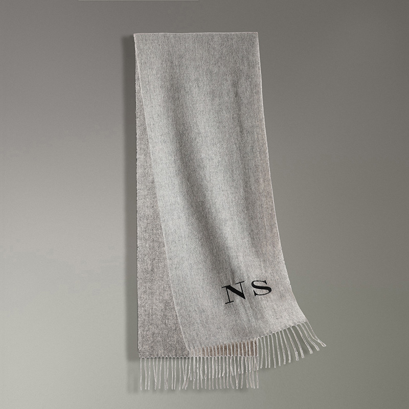 Black Thread Personalized Solid Tassel Women Scarf Customized Embroidery Cashmere Winter Female Lady Pashmina Girls Scarf