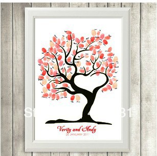 Free Shipping Unique Wedding Anniversary Fingerprint Tree Creative Sign Painting Customrized With Your Name