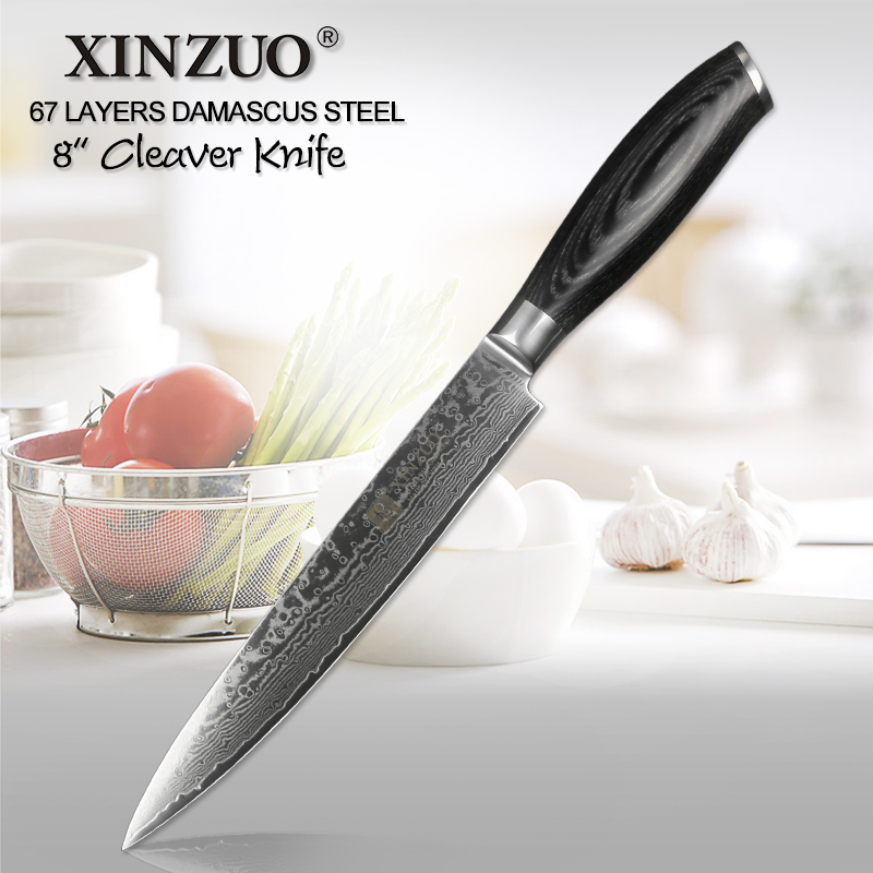 XINZUO 8 inch Cleaver Knife German Damascus Stainless Steel Kitchen Chef s Accessories Knives Meat Sashimi
