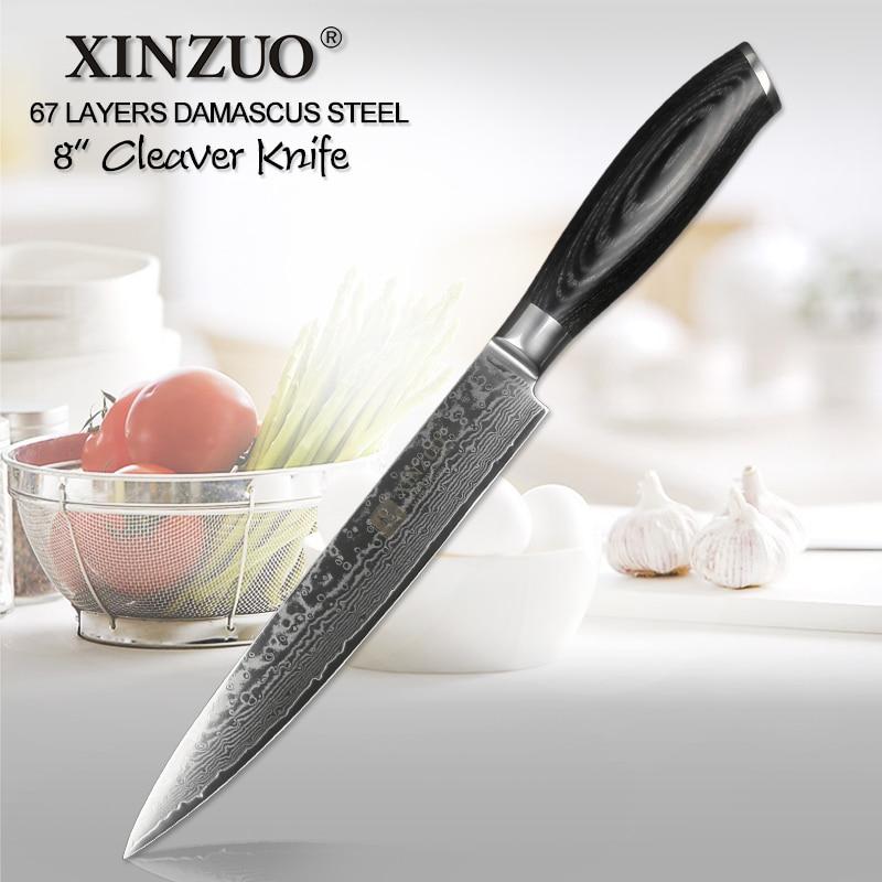 """XINZUO 8 """"بوصة الساطور سكين الألمانية دمشق الفولاذ المقاوم للصدأ المطبخ الشيف اكسسوارات السكاكين اللحوم الساشيمي Pakkawood مقبض-في سكاكين مطبخ من المنزل والحديقة على  مجموعة 1"""