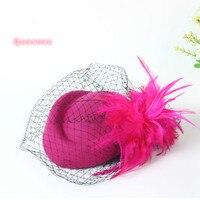 2017 New Pure Wool Stewardess Cap For Ladies Autumn Winter Fashion Women Wedding Party Top Hat