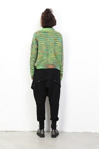 Image 4 - [EAM] 2020 New Spring di Alta Elastico In Vita Tasca Nero Split Misto Allentato Pantaloni Stile Harem Delle Donne Pantaloni di Modo di Marea JH030