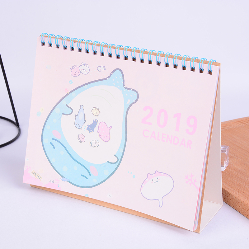 2019 New Cute Cartoon Calendar Creative Desk Vertical Paper Multi-function Storage Box Timetable Plan Notebook Calendar