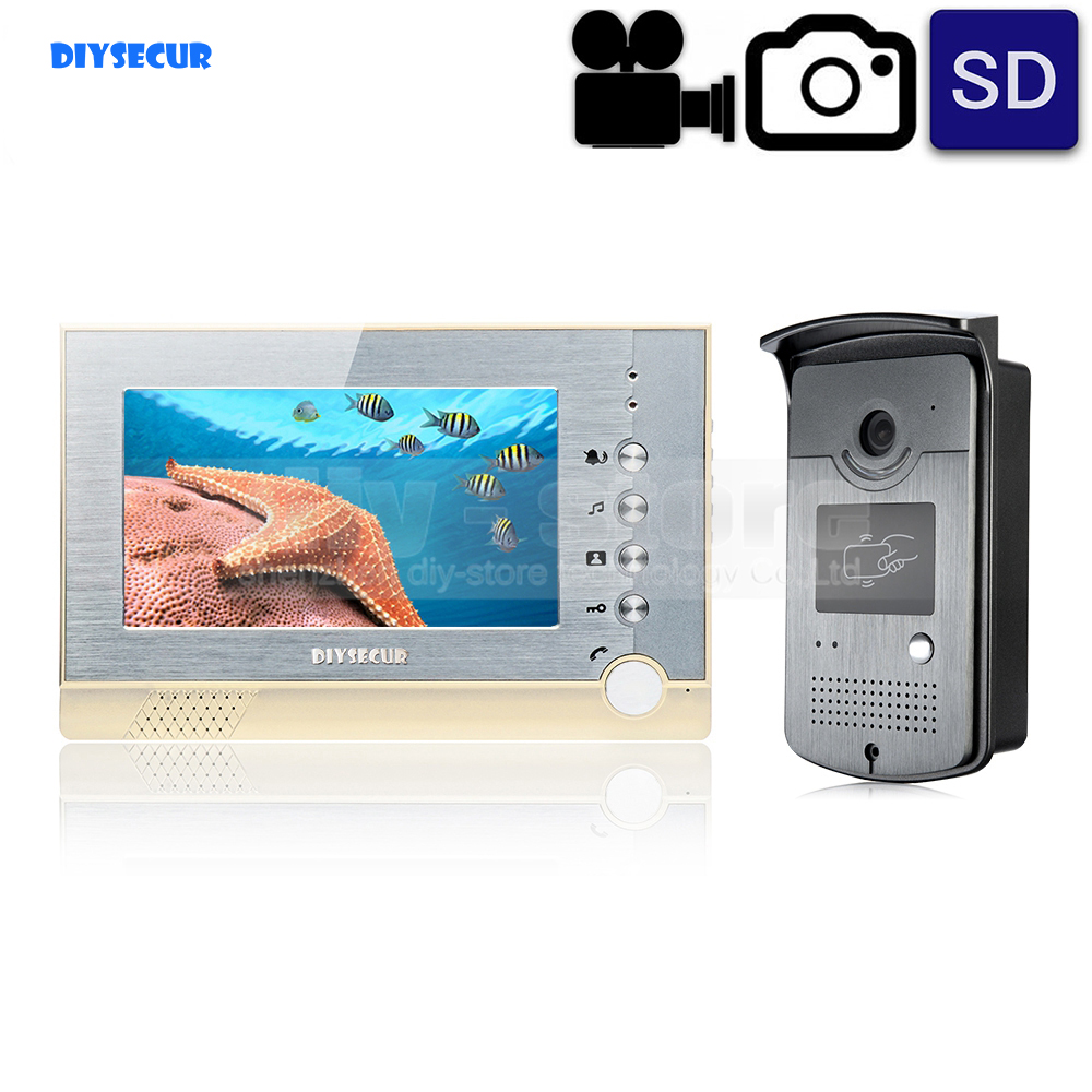 DIYSECUR Video Record / Photograph 7 inch Wired Video Door Phone Intercom Home Security System RFID Camera LED Night VisionDIYSECUR Video Record / Photograph 7 inch Wired Video Door Phone Intercom Home Security System RFID Camera LED Night Vision