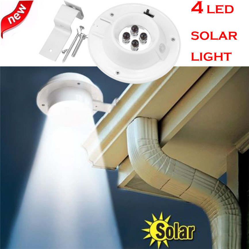 4 LED Solar Powered Gutter Light Outdoor/Garden/Yard/Wall/Fence/Pathway Lamp Decorations ...