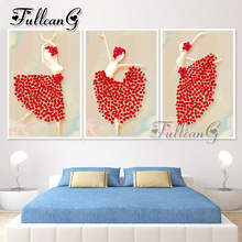FULLCANG diamond painting abstract dancer triptych diy mosaic embroidery 5d cross stitch kits full square drill 3pcs G1172 fullcang 5pcs diamond painting abstract world map mosaic cross stitch diy 5d diamond embroidery kits full square drill g521