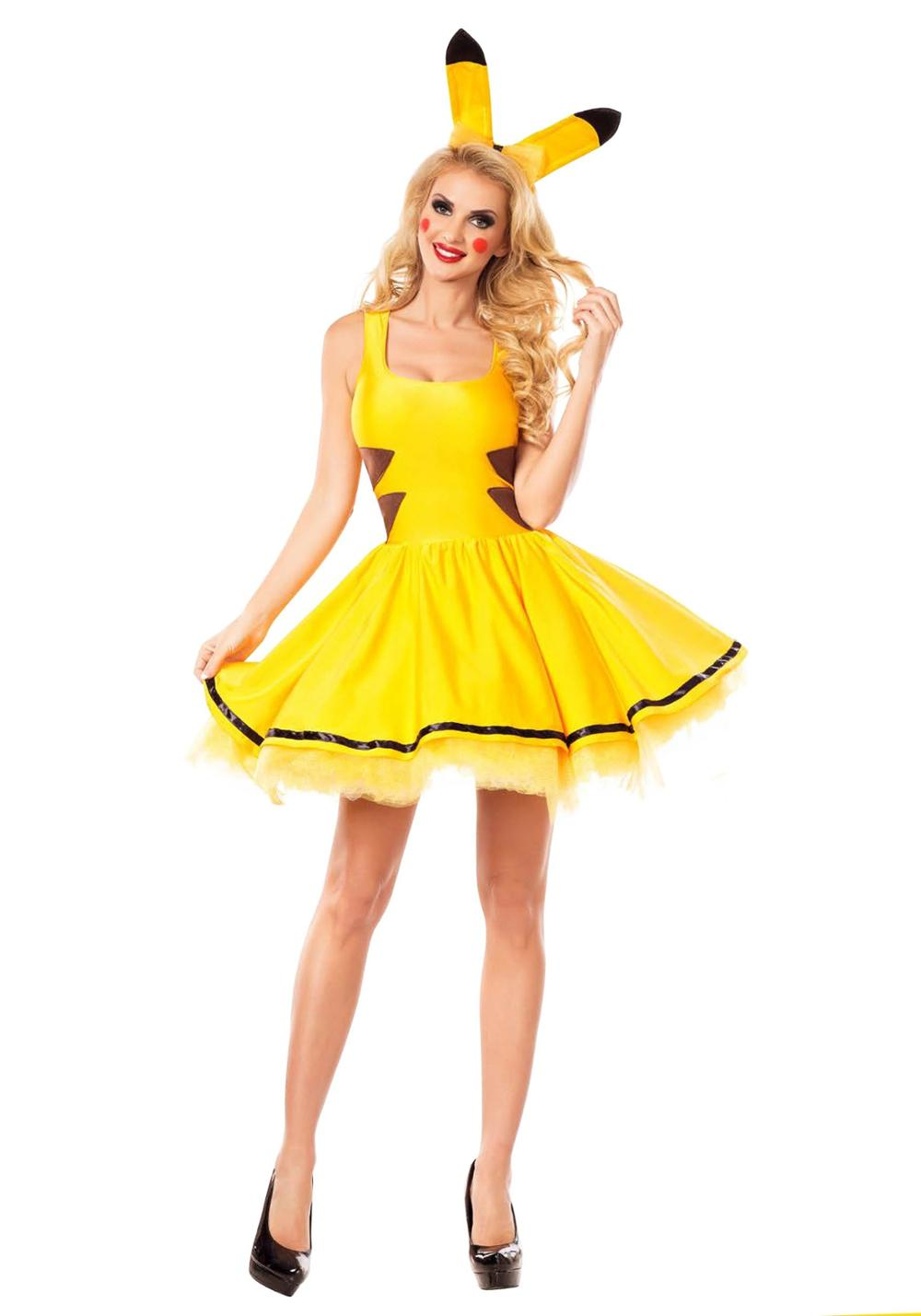 Japanese Anime Pocket Monster Pikachu Costume Sexy Yellow Cute Pikachu Mini Dress Hen Party Cosplay Fancy Dress