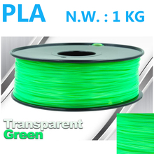 Transparent Green 3d plastic filament  impressora 3d USA Naural material 1.75mm 3d pen plastic pla 1kg 3d printer filament pla