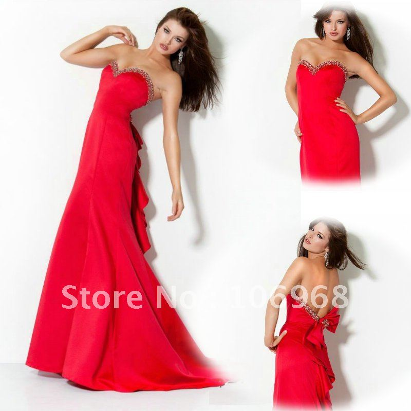 NEW LOOK 2012 Free Shipping Strapless Evening Dress red Mermaid E077 ...