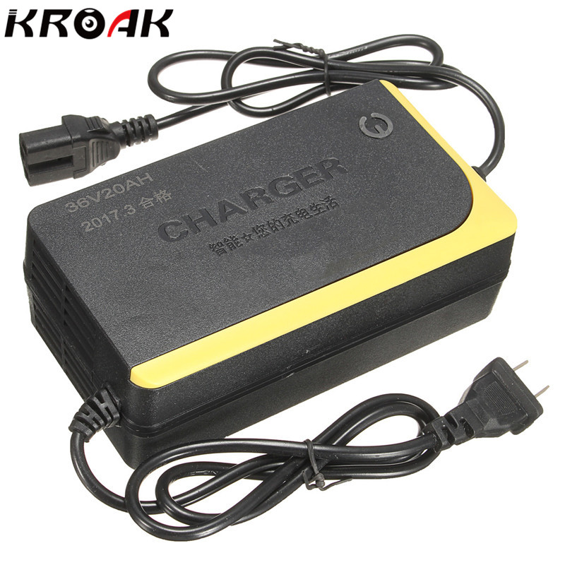 Kroak 36V 20AH Intelligent font b Battery b font Charger Charging for Electric Bikes Scooters Capable