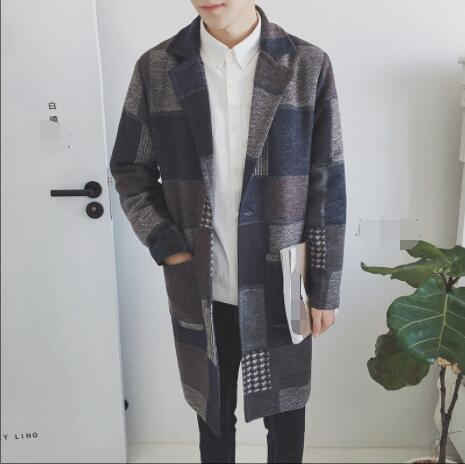 Handsome men fall and winter 2018 long style trench coat Korean version of slim plaid woolen overcoat men's fashion coat.