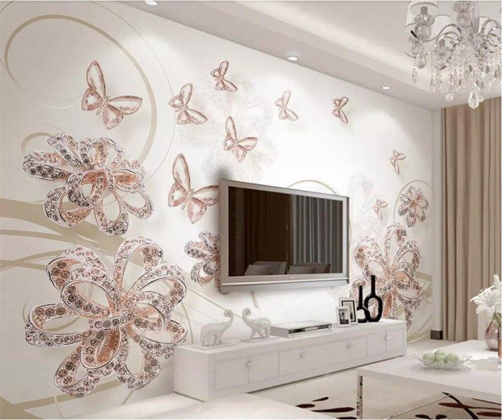 US $8 4 OFF Beibehang Wallpaper Kustom 3D Foto Mural Baru Nude Warna Perhiasan Cantik Bunga Transparan Butterfly Sofa Latar Belakang Kertas