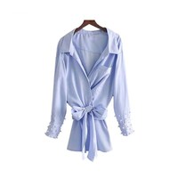 Pocket Bow Tie Sashes Asymmetrical Blouse Casual Long Tops Blusas Elegant Pearls Beading Striped Loose Shirts