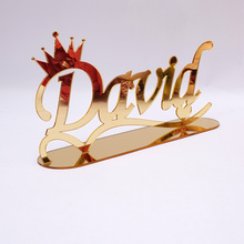 Personalized Name TableShow Mirrored Crown Style Table Stand Decor Custom Acrylic Mirror Wedding Birthday Party Favors Gifts custom mirrored crown acrylic mirror sticker with glue customized birthday decoration gift for kid s diy room