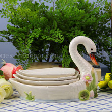 ceramic Creative swan fruit plate Candy Storage dish Dessert Snack Salad plate home decor wedding decoration handicraft figurine