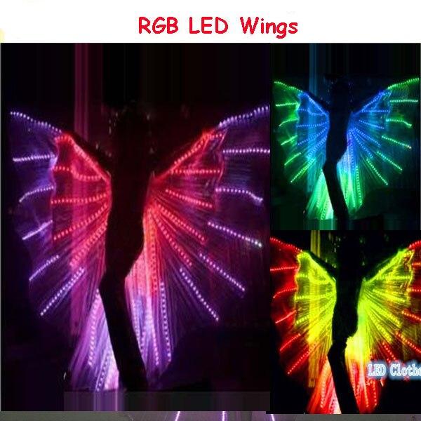 Красочные танцевальные привело крылья, rgb подсветкой крылья бабочки, танцевальный клуб свет Показать Танец живота Костюм LED крыло