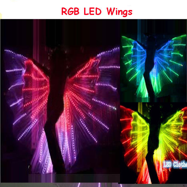 Colorful Dance LED wings,RGB Luminous butterfly wings,Dance Club Light Up Show Belly Dance Costume LED wing new belly dance costumes senior sexy handmake bra belt skirt 3pcs belly dance set for women belly dance competition suits