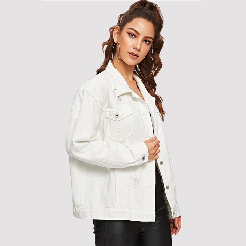 COLROVIE Ripped Drop Shoulder Women Denim Jackets Black White Oversize Purple Casual Female Jacket Coat Chic Jacket for Girls 14