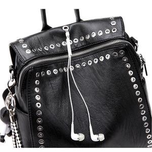 Image 3 - SUDS Brand Women PU Leather Backpack New Fashion Student Rivet School Bags Shoulder Bag Female Traveling Backpack Mochilas Mujer