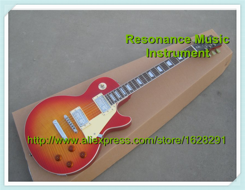 Wholesale & Retail Classical Musical Instrument Cherry Sunburst Flame Top LP Standard Electric Guitar Red Back Lefty Available