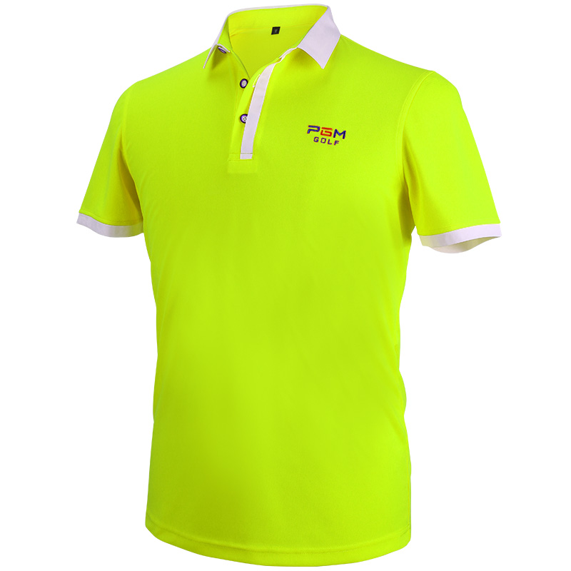 Golf Apparel Mens Short Sleeved Polo Shirt Summer Running Sport Shirts Breathable Dry Fit (FLUORESCENT GREEN)