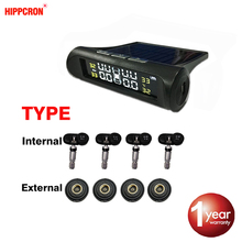 Hipcron sensor de alarme pressão dos pneus monitor sistema interno/externo tpms display carro aviso temperatura energia solar carregamento