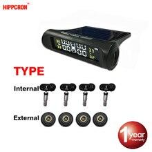 Hippcron צמיג לחץ מעורר חיישן צג מערכת פנימי/חיצוני Tpms רכב תצוגת טמפרטורת אזהרת שמש כוח טעינה