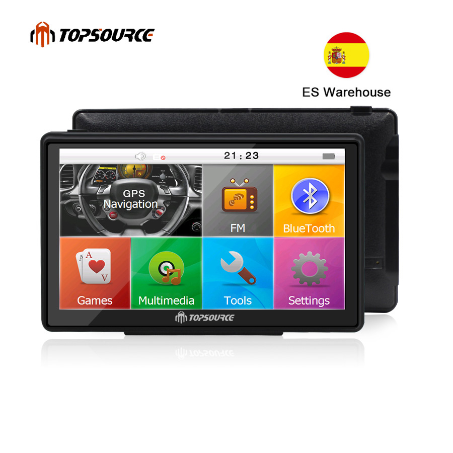 TOPSOURCE 7 Voiture Camion véhicule navigation gps mtk ce6.0 800 Mhz 8 GB gps navigator carte pour navitel/espanol /royaume-uni/Europe/USA/espagnol