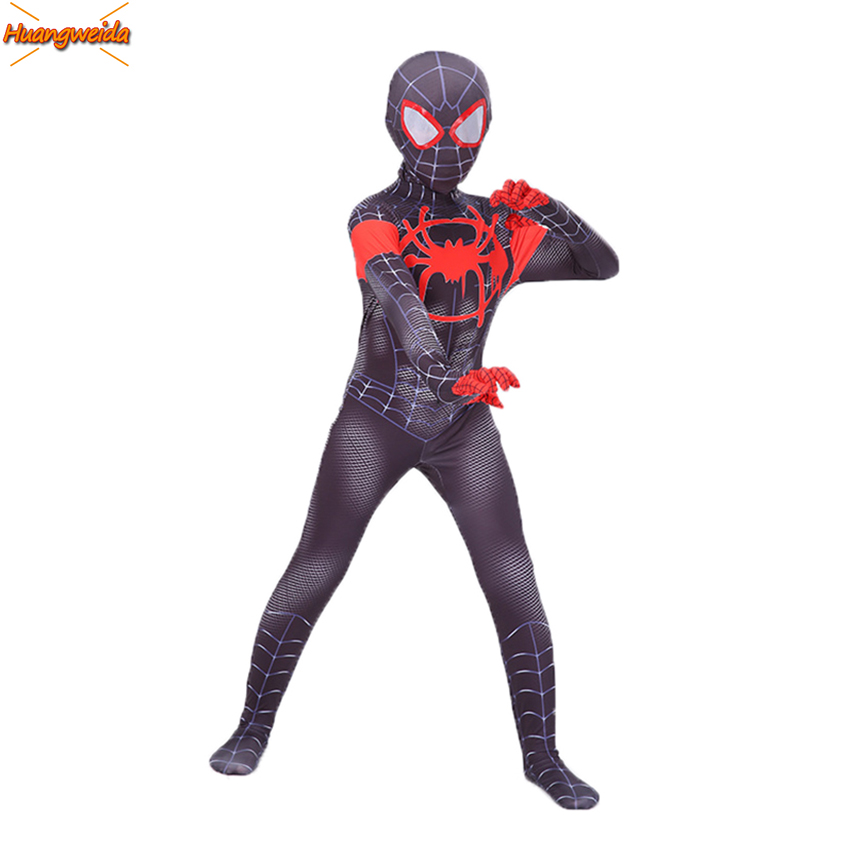 Black Miles Morales Spiderman Costume Boys Spider Man Cosplay Costume Kids Superhero Spiderman Into The Spider-Verse Bodysuit image