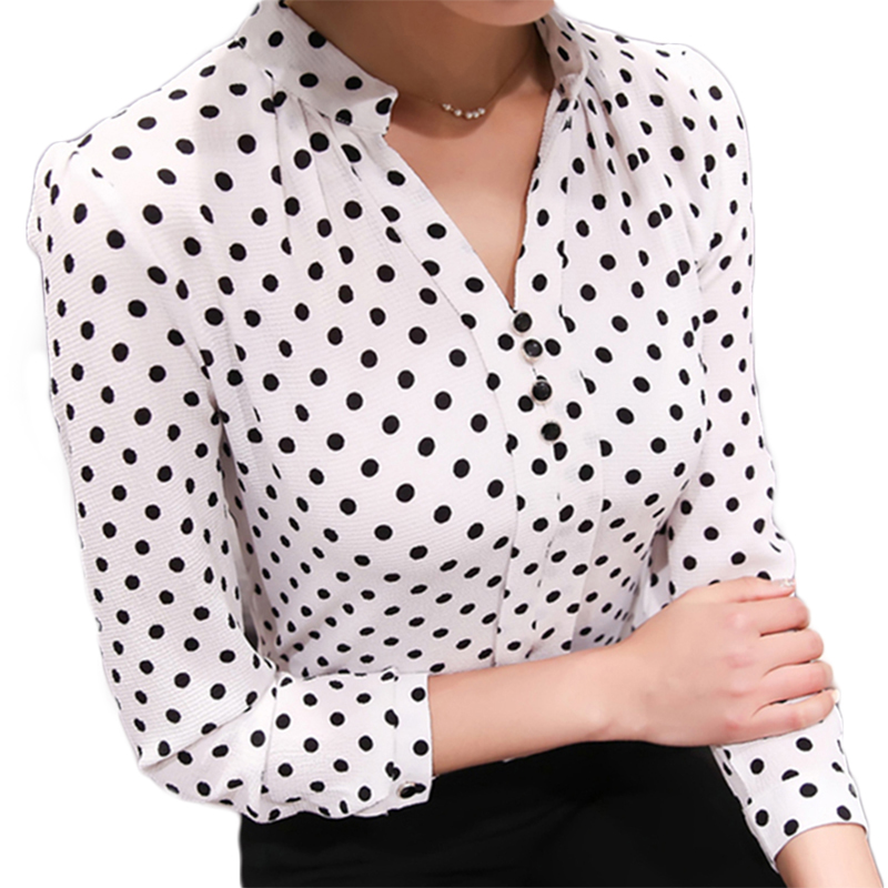 Chiffon Shirt Print Women's Fashion Blouse Shirts Long Sleeve 2018 Office Ladies Tops Female Clothing Elegant Blusas Femininas