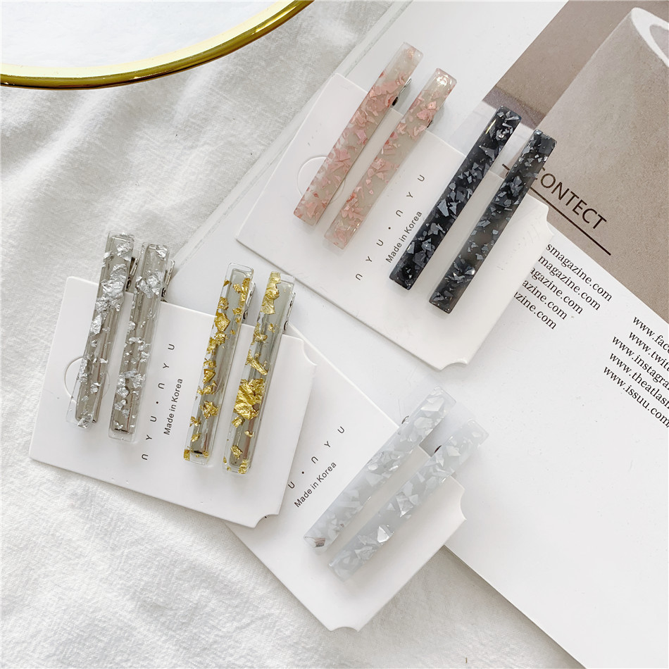2PCS Fashion Ins acetic acid bangs clip word clip hairpin shaped clip Accessories For Women Girls Hairclip   Headwear