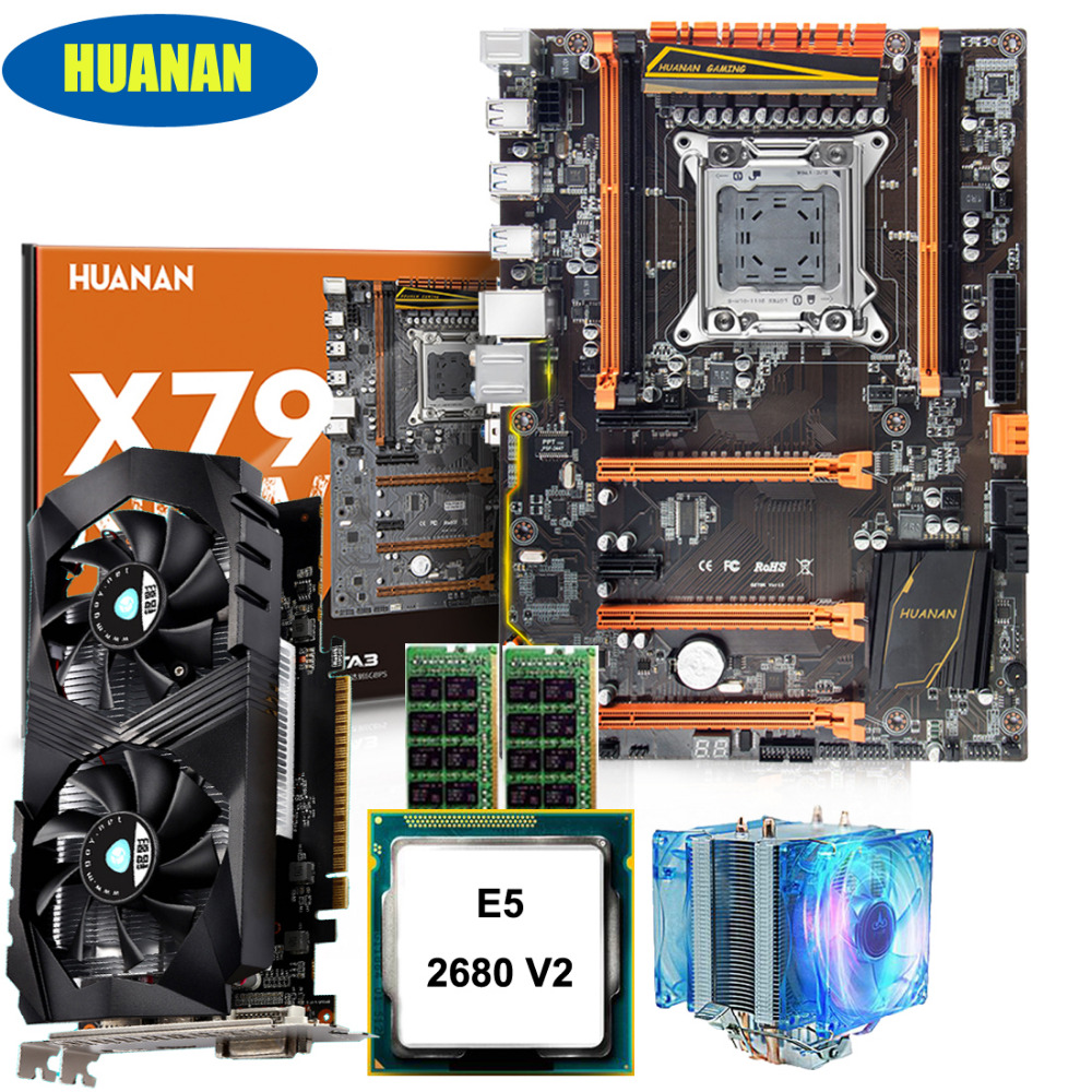 HUANAN deluxe X79 motherboard CPU RAM set with video card GTX1050ti 4G Xeon E5 2680 V2 RAM 32G DDR3 1600MHz RECC with CPU cooler huanan x79 motherboard diy set cpu xeon e5 2680 v2 ram 32g 4 8g ddr3 recc 500watt psu video card gtx1050ti 240g sata3 0 ssd