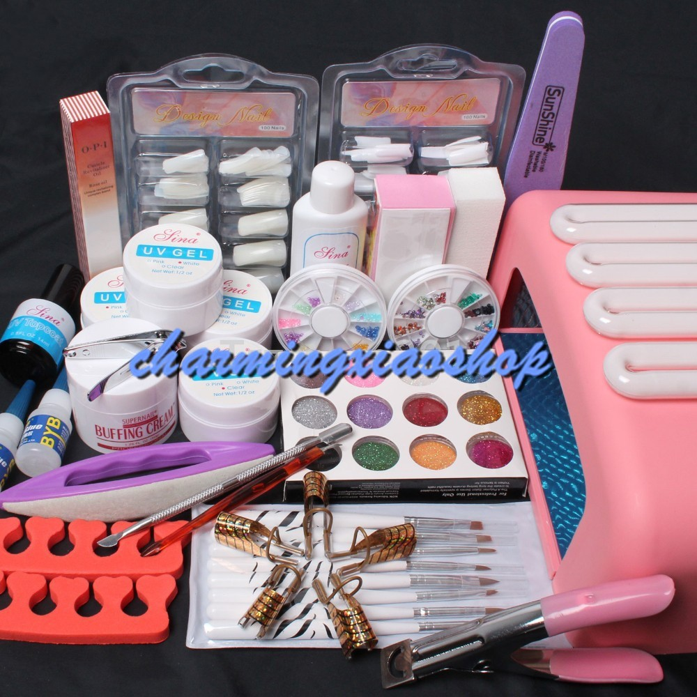 ФОТО Nail Art Kit UV Builder Gel 36W Timer Dryer Lamp Decorations Full Tools Set To Build Gel Nails Manicure Set 34223