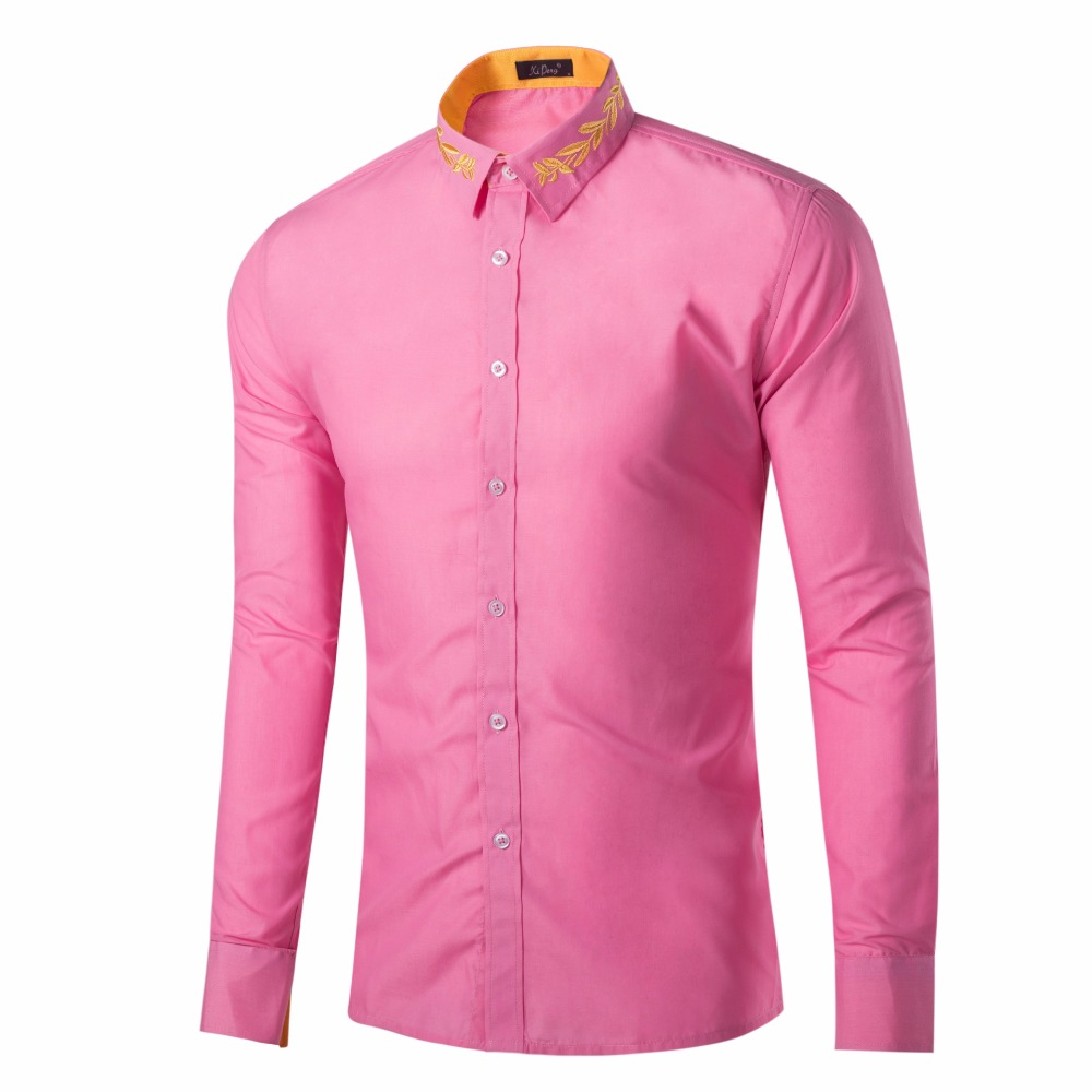 e25aeb86eb9e Plain Embroidered Collar Latest Shirt Design for Men Royal Blue Slim Fit  Shirts 9 Available Colors US Sizes YJT GD016-in Casual Shirts from Men's  Clothing ...