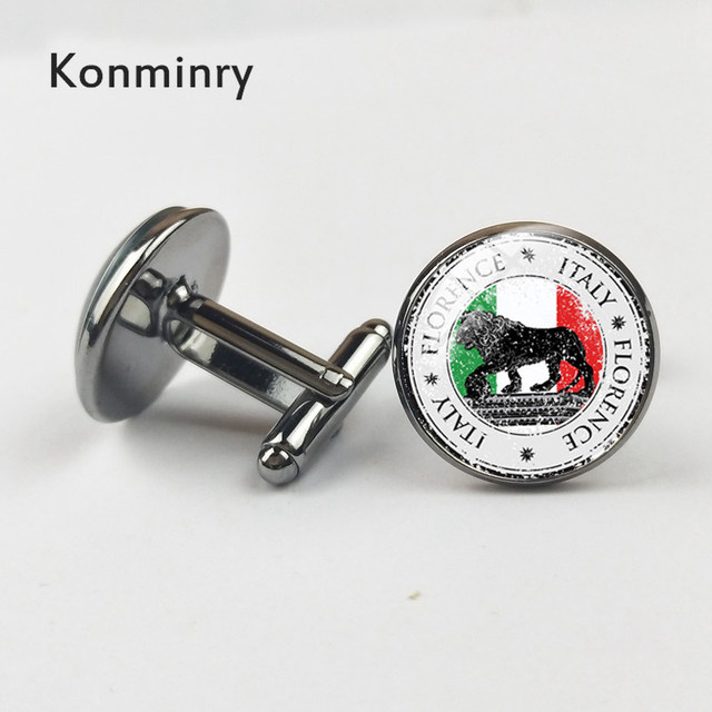 Konminry Cufflinks Glass Cabochon Italy Flag Design Shirt Suit French Cuffs Jewelry Wedding