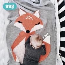 AAG Baby Blankets Cute Fox Ear Infant Kids Soft Warm Knitted Swaddle Newborn Bath Towel Beach Mat Bedding Props Blankets цена