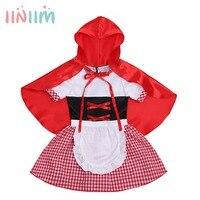 Iiniim Baby Girls Novelty Plaid Halloween Costume Party Tutu Ruffled Dress With Hooded Cloak Zipper Closure