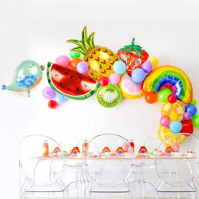 FENGRISE Flamingo Animal Balloons Dolphin Pineapple Birthday Foil Balloon Party Baloons for Summer Hawaiian Party Decoration