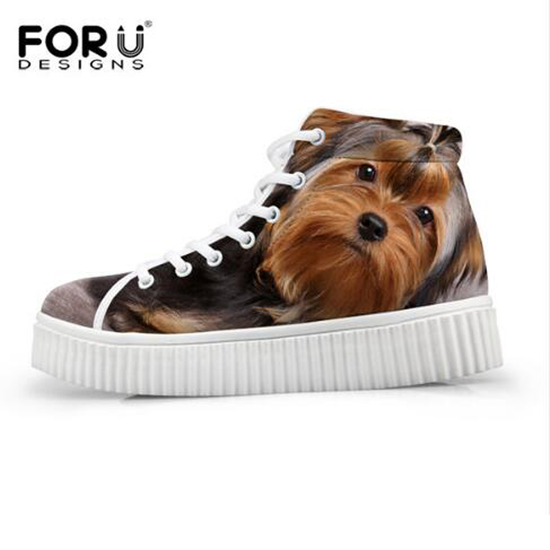 FORUDESIGNS Perro Animal de la Impresión de Las Mujeres Zapatos de Plataforma, 2
