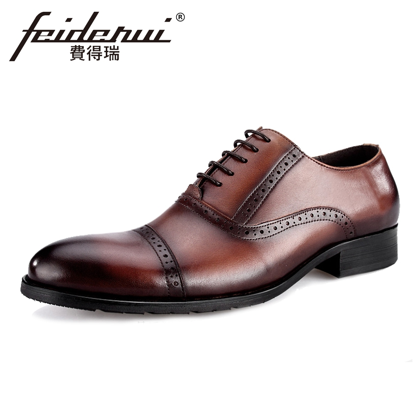 2018 Vintage Genuine Leather Men's Wedding Oxfords Formal Dress Round Toe Man Party Footwear British Designer Male Shoes BQL13