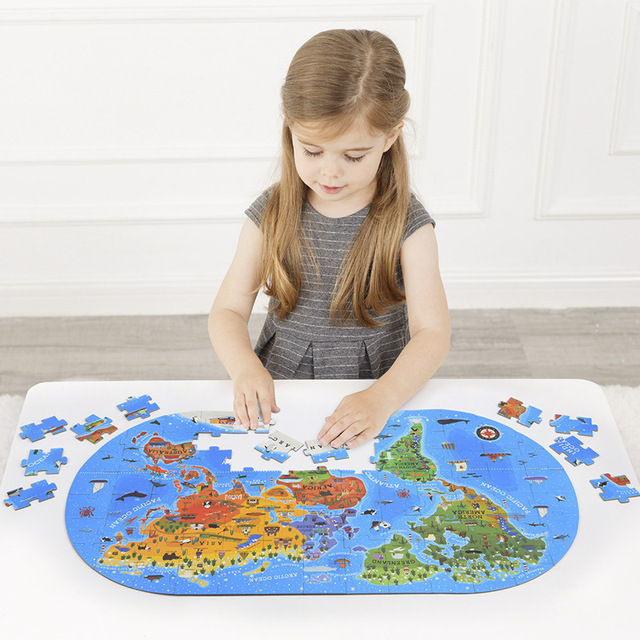 100pcs Kid's World Map Puzzles Montessori Materials Educational Toys For Children World Cultural Cognition Puzzles Games oyuncak