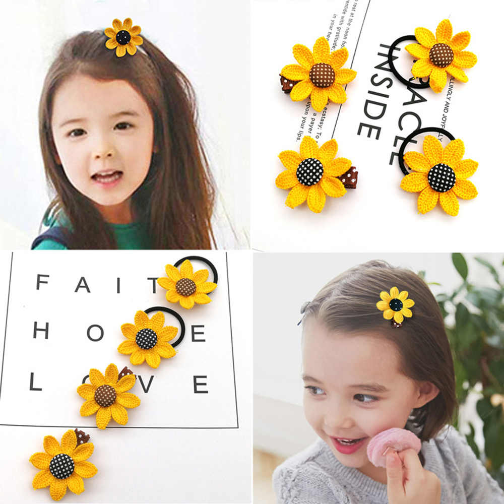 Cute Sunflower Hair Clip Handmade Scrunchie Children's Hair accessories Hair ring For Girls
