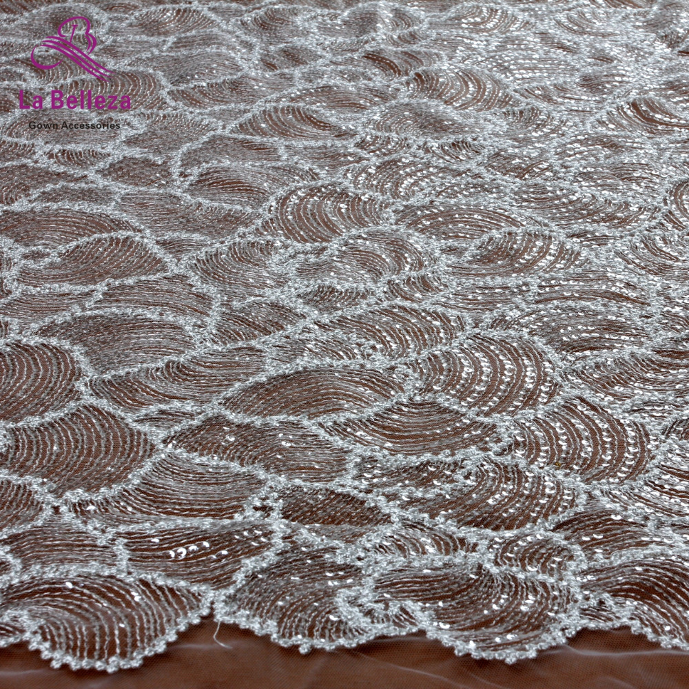 Off white french rayon with sequins embroidery tulle mesh lace fabric wedding/evening dress lace fabric 130cm by yard