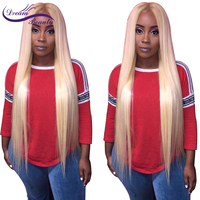 Dream Beauty blond 613 Brazilian Remy Hair 130density 13x6 deep middle part lace front human hair Wigs With Baby Hair