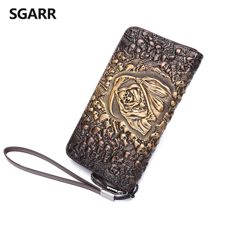 Genuine Leather 2016 Men brand vintage designer luxury Skull wallet Long card holder purse casual Business Male Clutch Bag brand design men luxury individuality vintage long wallet skull style genuine cow leather purse men s clutch handy phone bags
